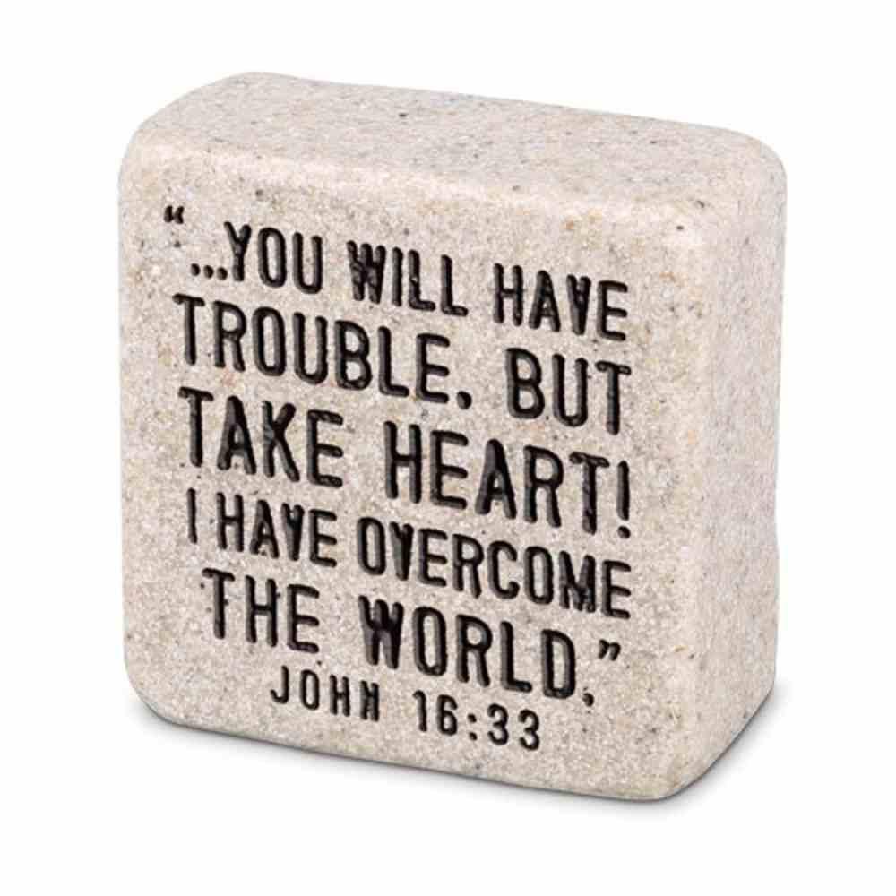 Plaque Scripture Stone: Take Heart, Cast Stone Block (John 16:33) Plaque