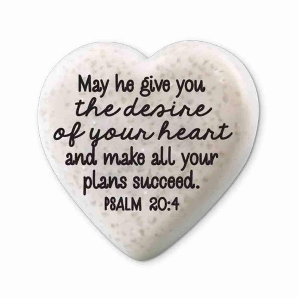 Plaque Scripture Stone: Hearts of Hope - Success, (Psalm 20:4) Plaque