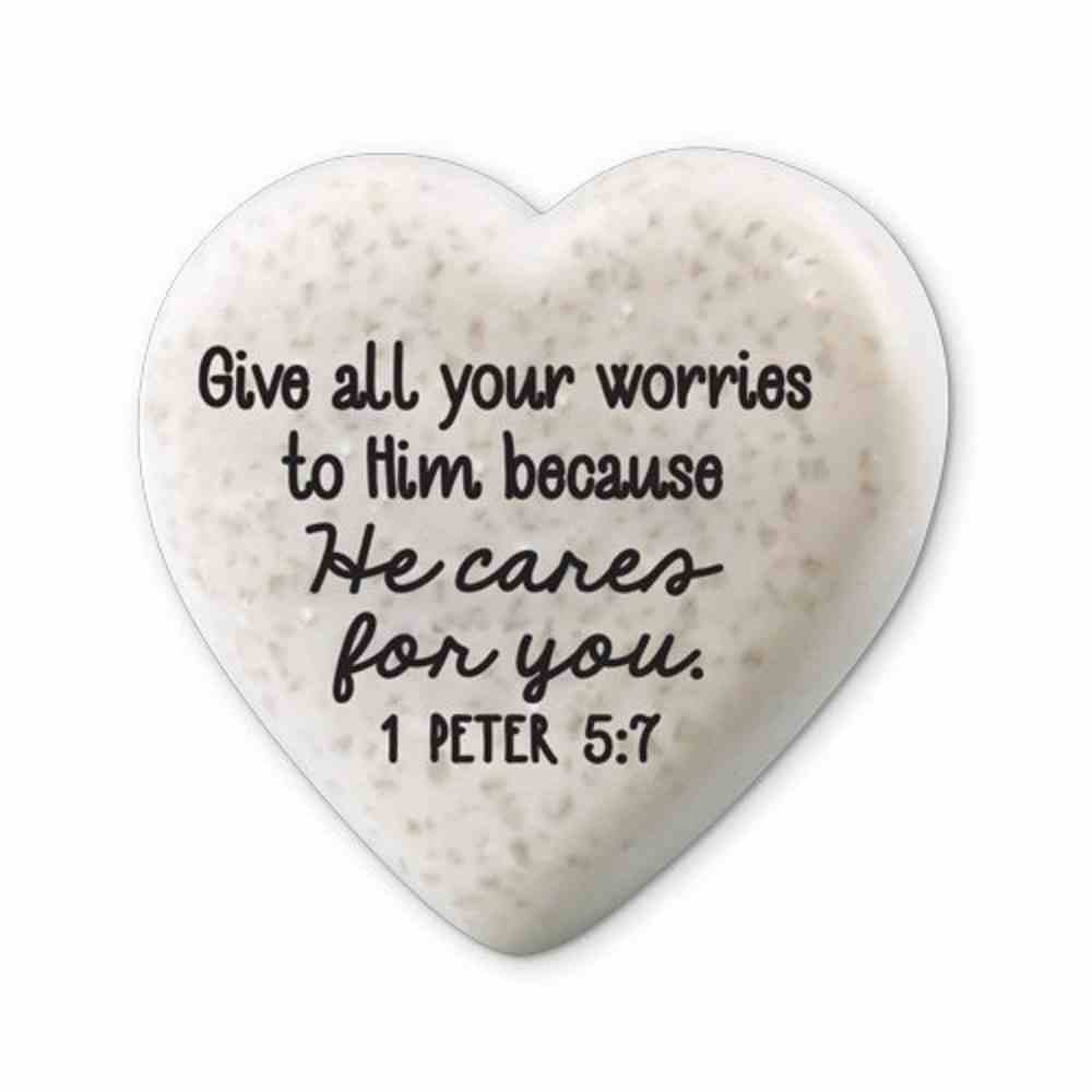 Plaque Scripture Stone: Hearts of Hope - He Cares For You (1 Peter 5:7) Plaque