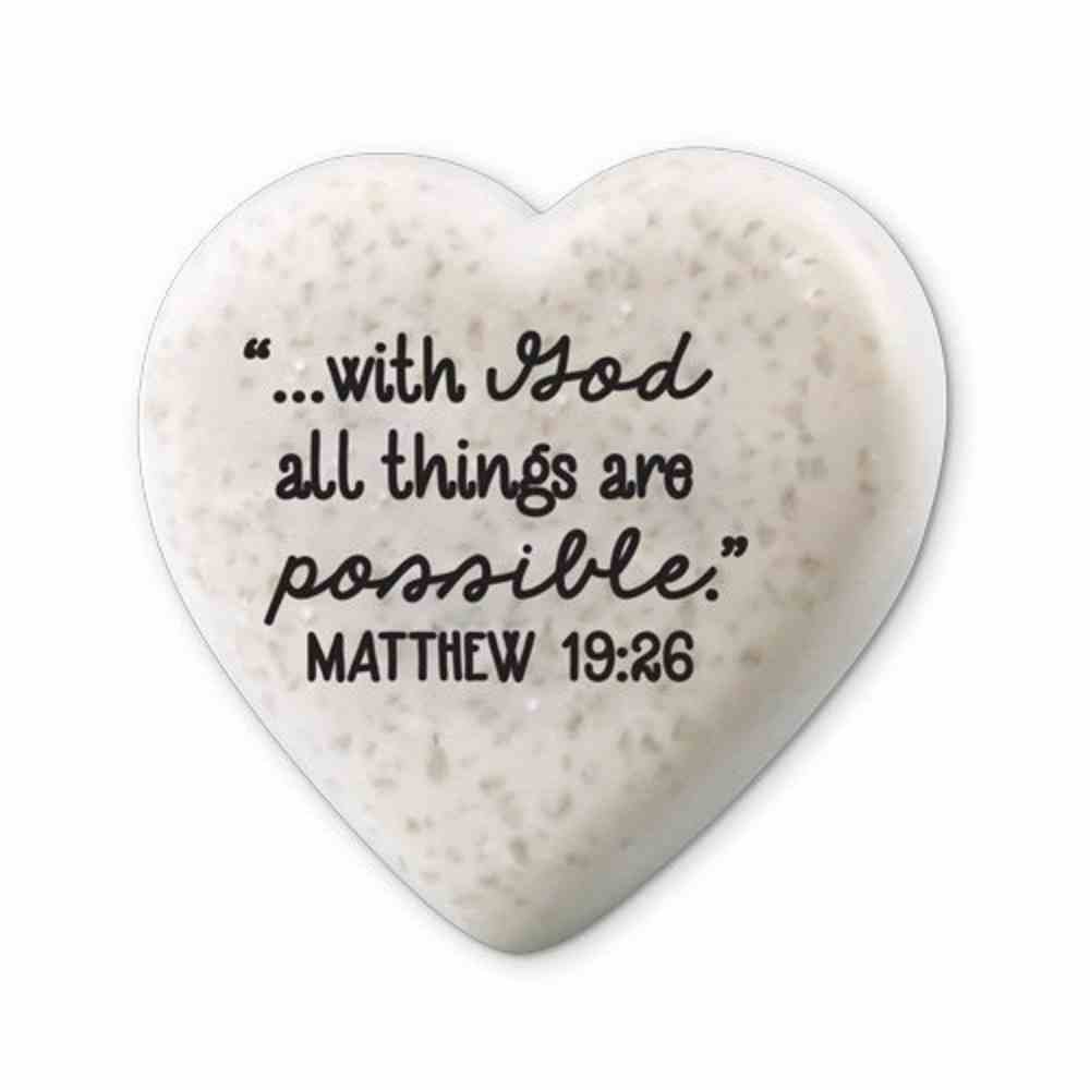 Plaque Scripture Stone: Hearts of Hope - With God (Matthew 19:26) Plaque