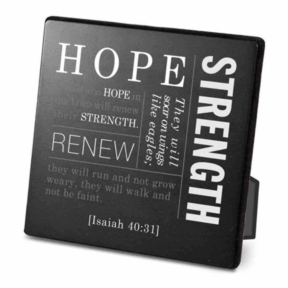 Metal Plaque Simple Faith: Hope, Black/White (Isaiah 40:31) Plaque