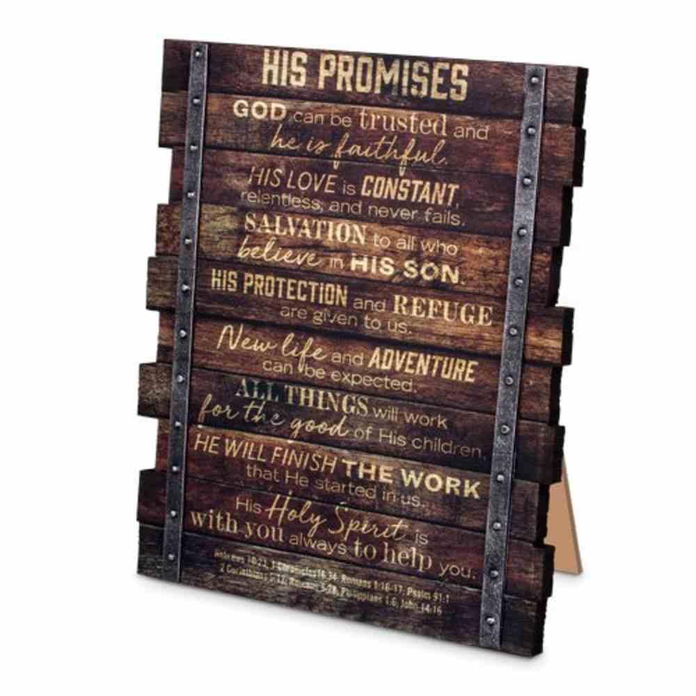 Farmhouse Industrial Plaque: His Promises, Wood Planks, (Various Scriptures) Plaque