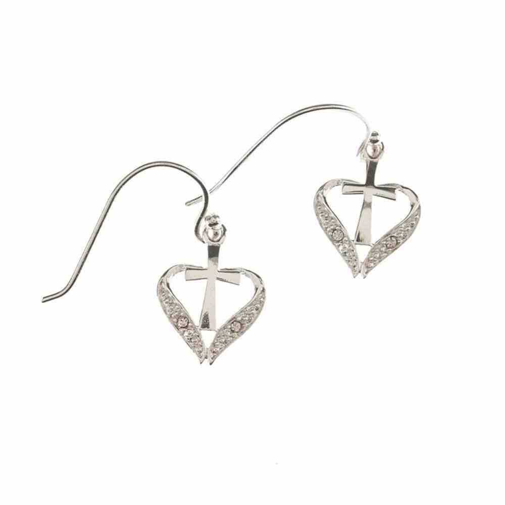 Earrings: Sterling Silver Open Heart Cross Earring With Sterling Silver Wires Jewellery