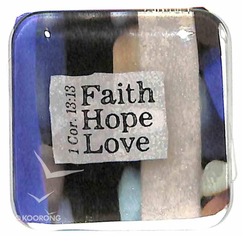 Reflections Glass Magnet: Faith, Hope, Love (Blue/Black/Beige) (1 Cor 13:13) Novelty