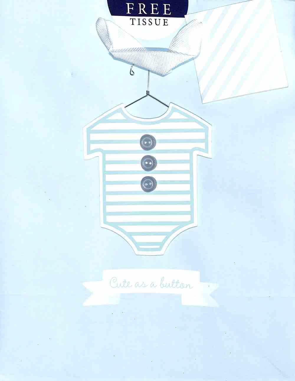 Gift Bag Medium: Baby Blue Cute as a Button (Incl Two Sheets Tissue Paper & Gift Tag) Stationery