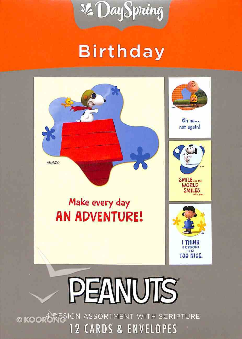 Boxed Cards Birthday: Peanuts Adventure, NLT Scripture Text Box