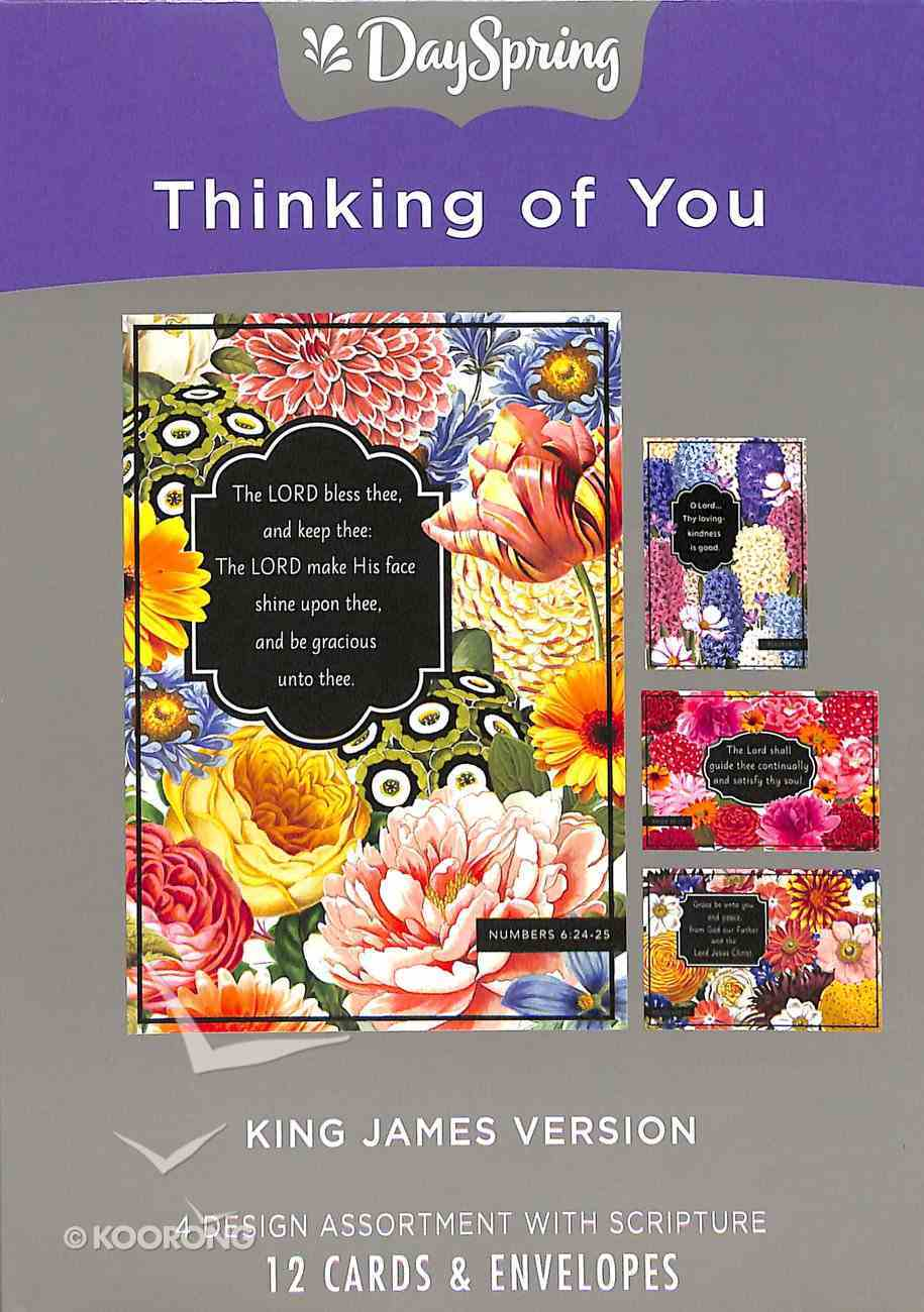 Boxed Cards Thinking of You: Wild Flowers, KJV Scripture Text Box