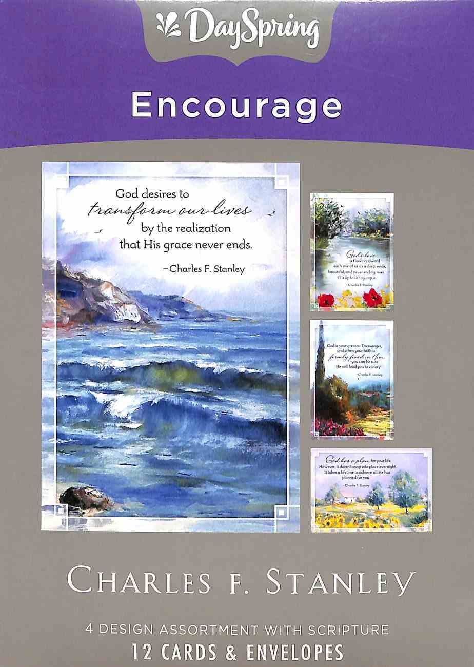 Boxed Cards Encourage: Charles Stanley, NASB Scripture Text Box