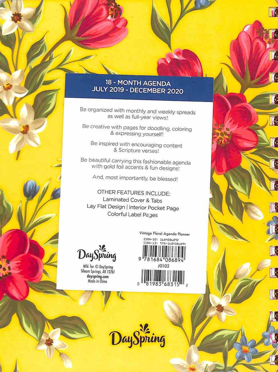 2020 18-Month Agenda Diary/Planner: Vintage Floral, Gold Foil Spiral
