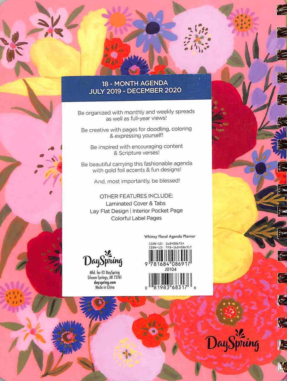 2020 18-Month Agenda Diary/Planner: Whimsey Floral Spiral