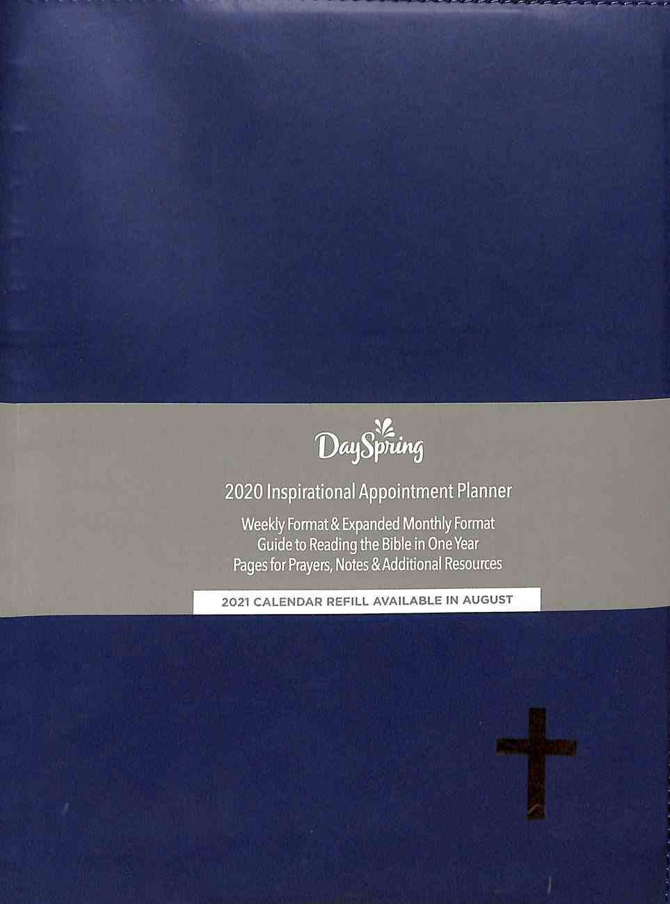 2020 Appointment Diary/Planner: Dark Blue, Gold Cross, Premium Faux Leather Spiral