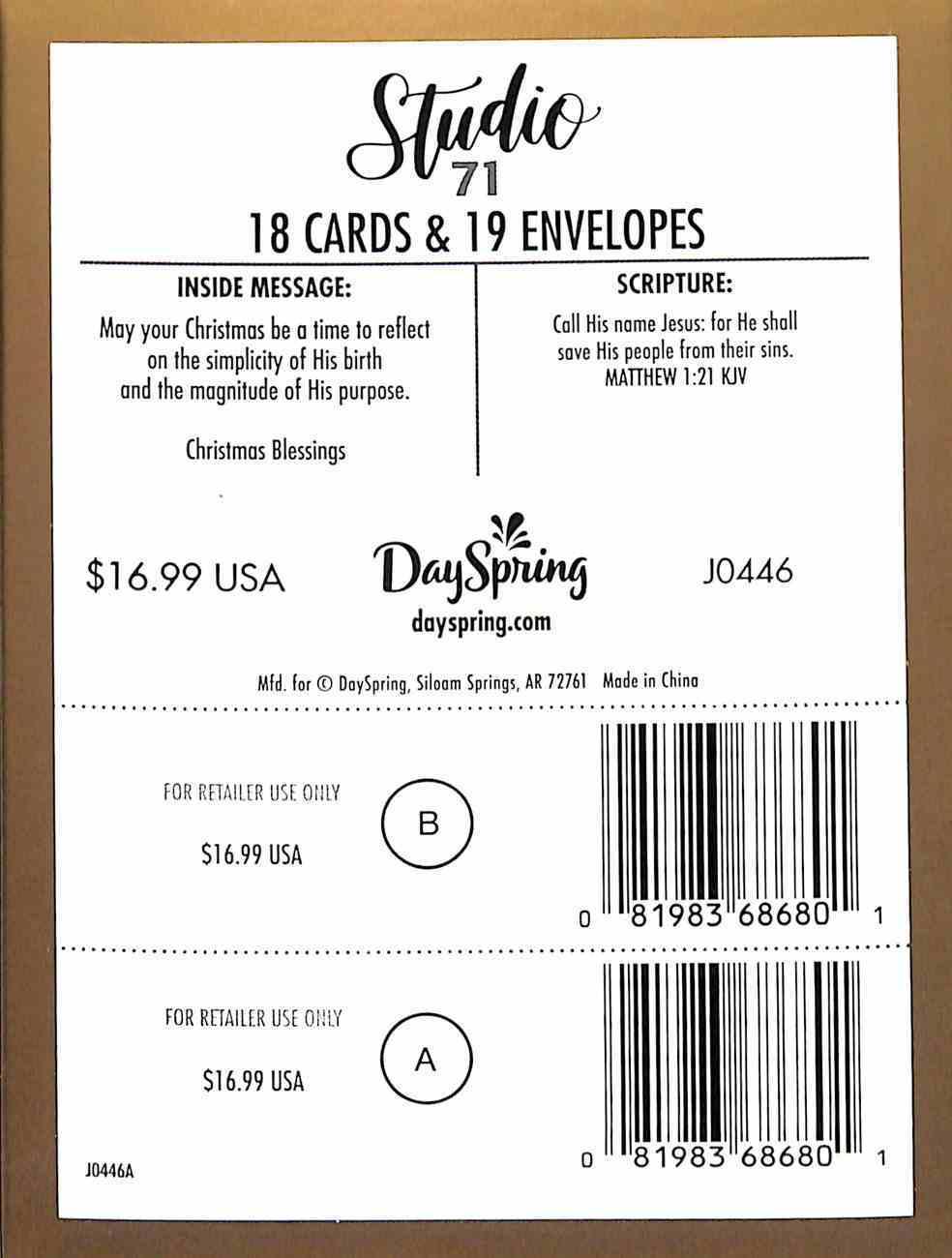 Christmas Match Boxed Cards: Manger (Matthew 1:21 Kjv) Cards
