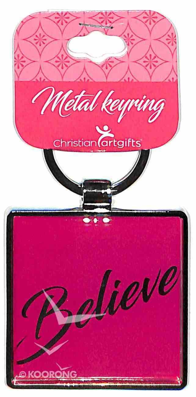 Metal Keyring: Believe, Pink - With God All Things Are Possible Jewellery