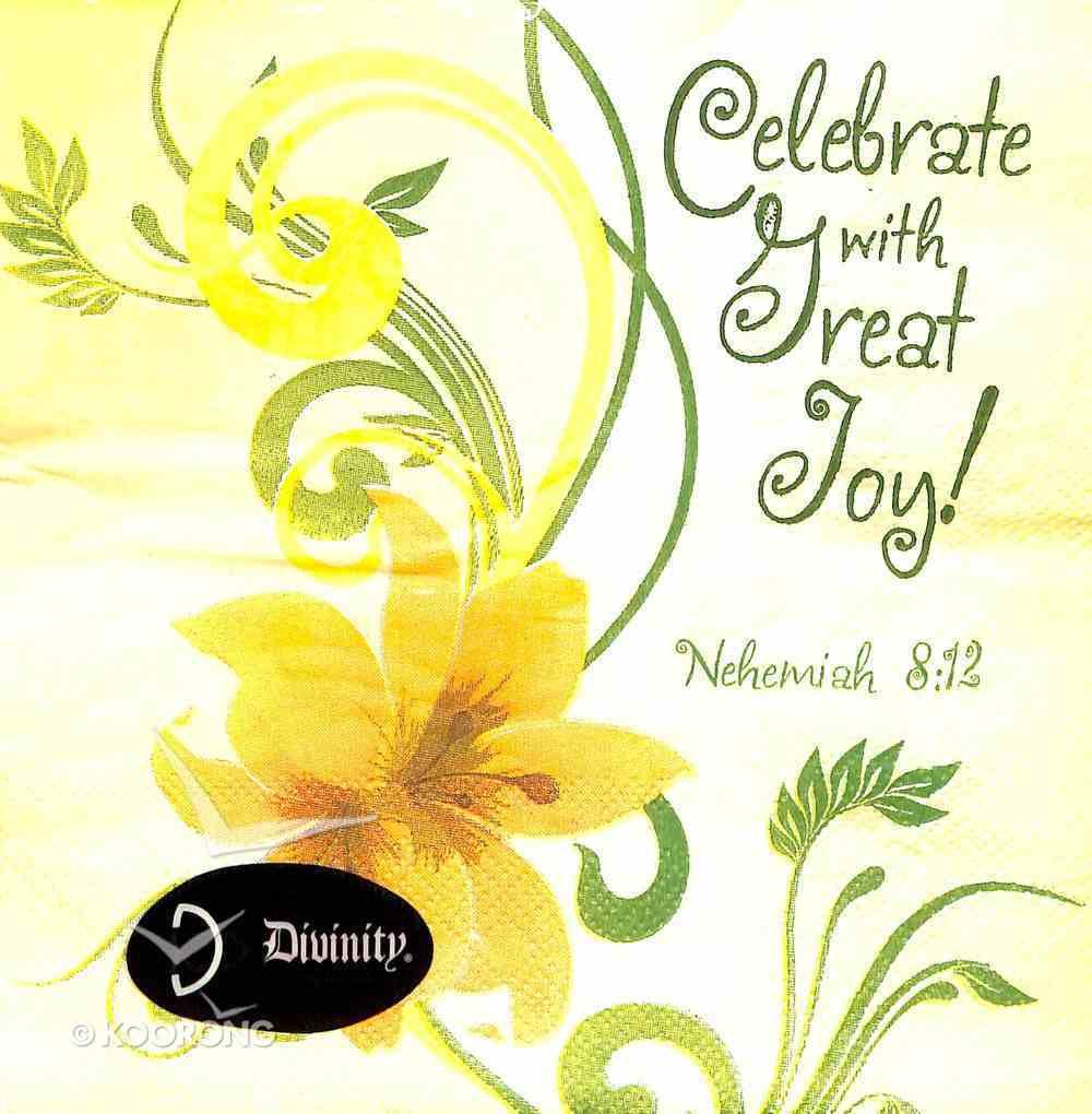 Napkins: Celebrate With Great Joy! Yellow Flowers, (Nehemiah 8:12) Homeware