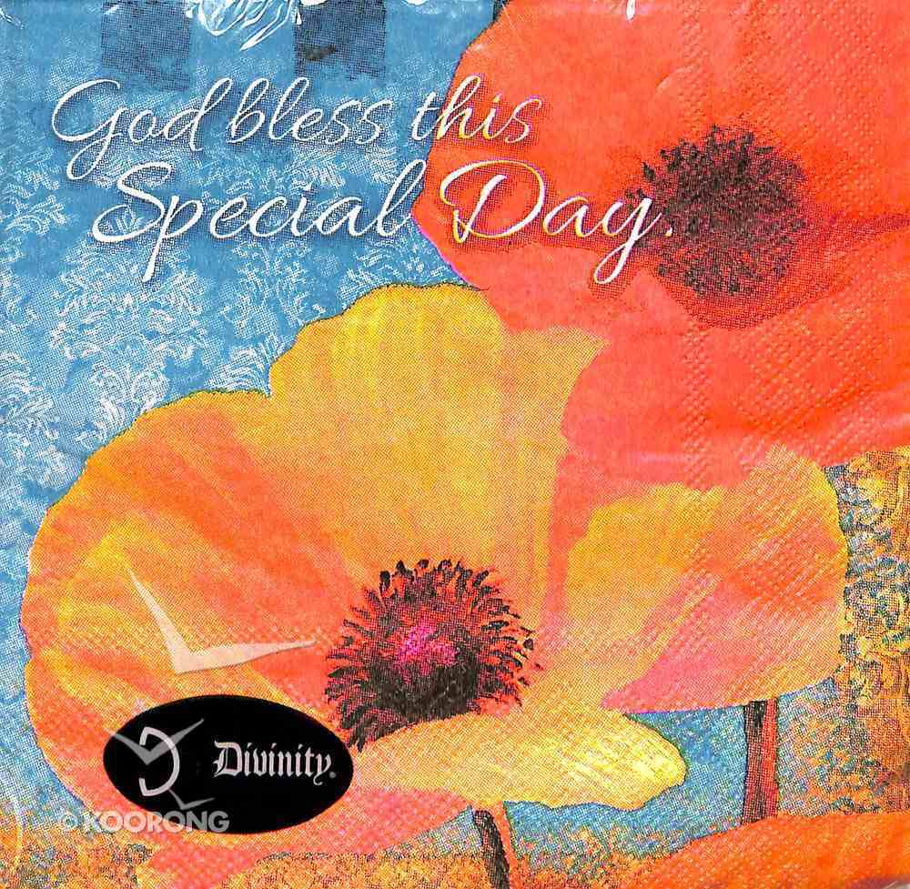 Napkins: God Bless This Special Day, Orange/Red Flowers Homeware
