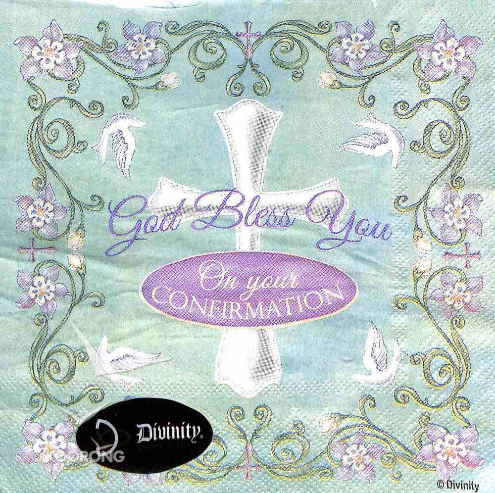 Napkins: God Bless You on Your Confirmations, Pale Green/Purple Homeware