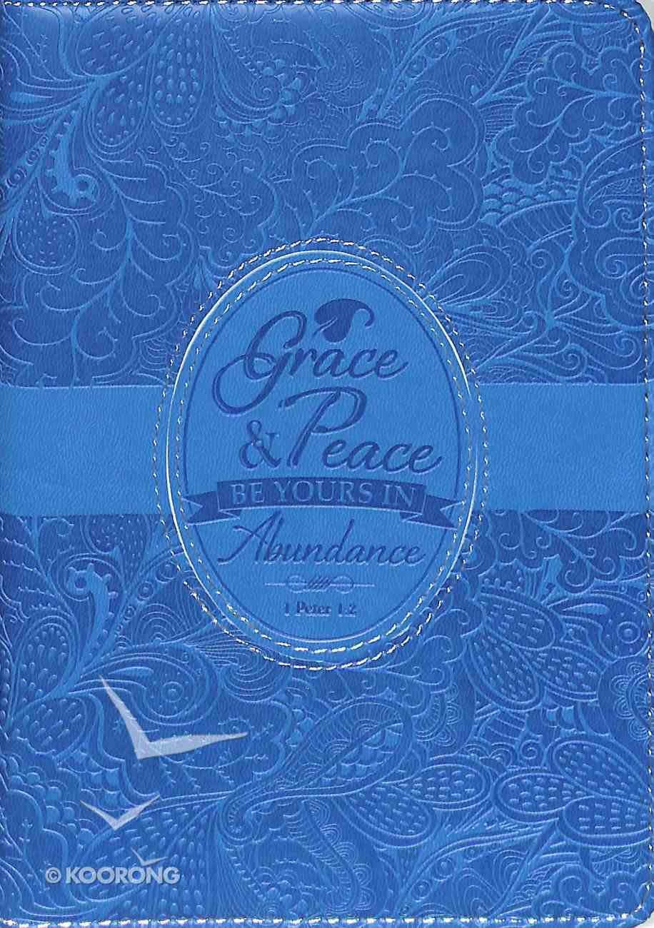 Journal Divine Details: Grace & Peace Be Yours in Abundance, Blue, Zippered Closure Imitation Leather