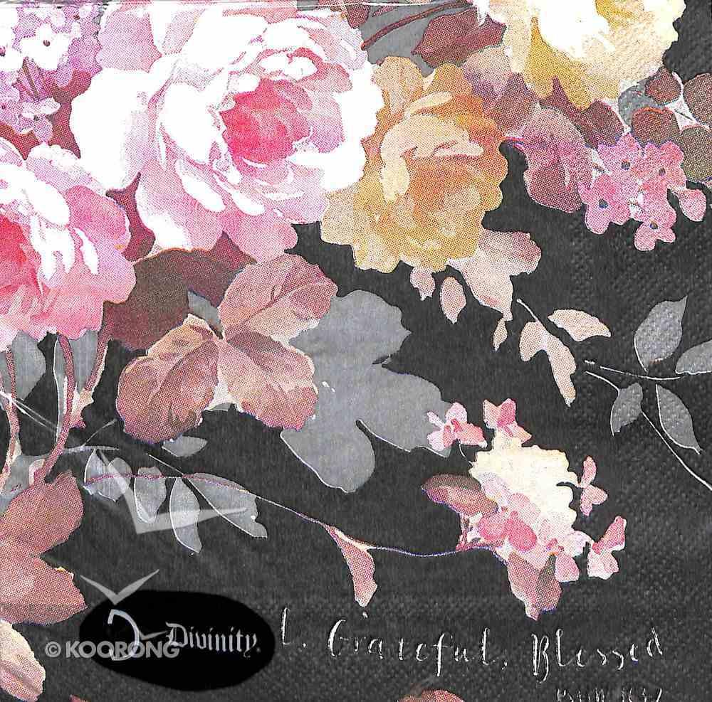 Napkins: Thankful, Grateful, Blessed, Floral on Black Background Homeware