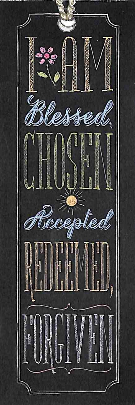Bookmark Chalk With Tassel: I Am Blessed Chosen Accepted Redeemed Forgiven Stationery