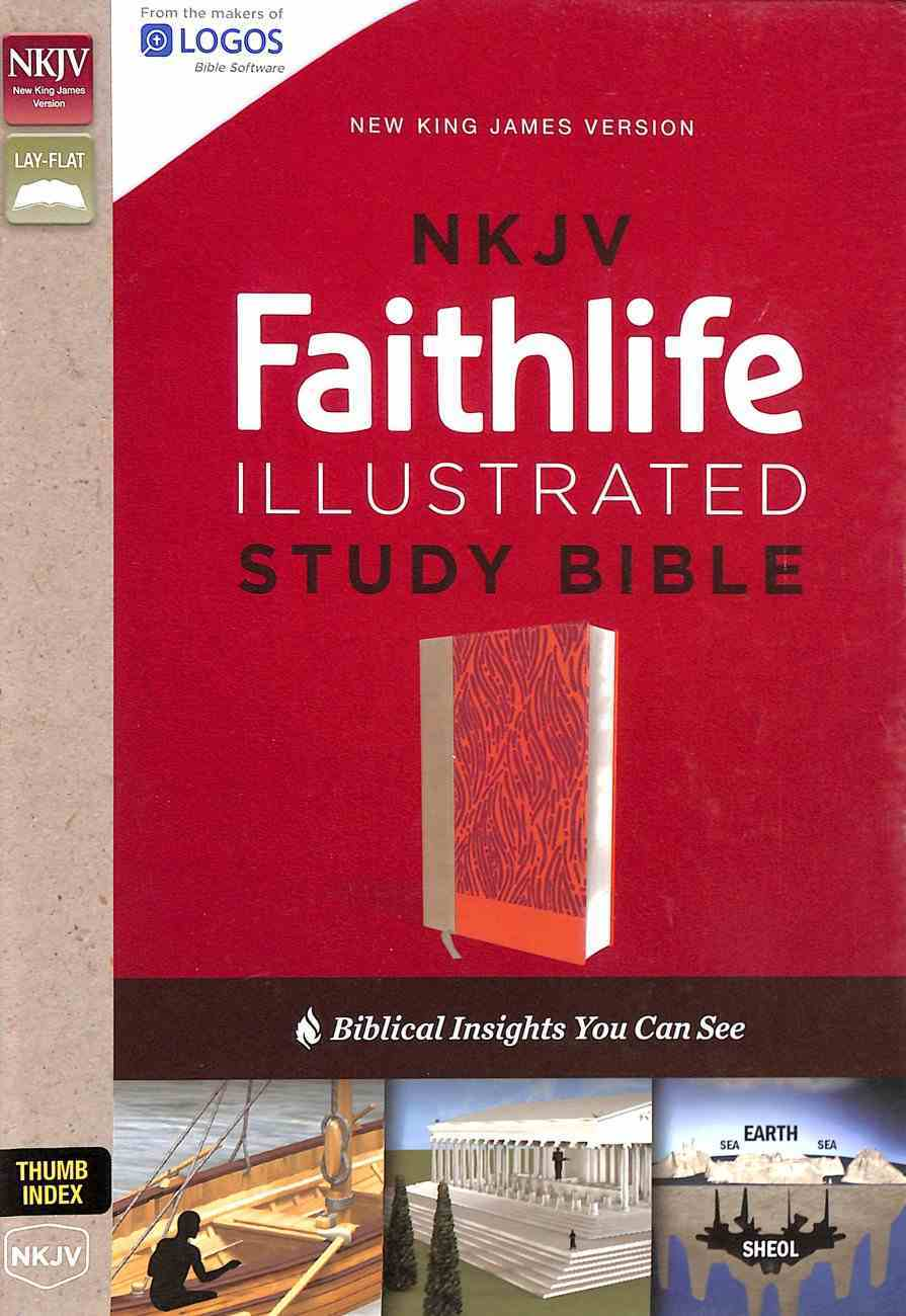NKJV Faithlife Illustrated Study Bible Pink Indexed (Red Letter Edition) Premium Imitation Leather