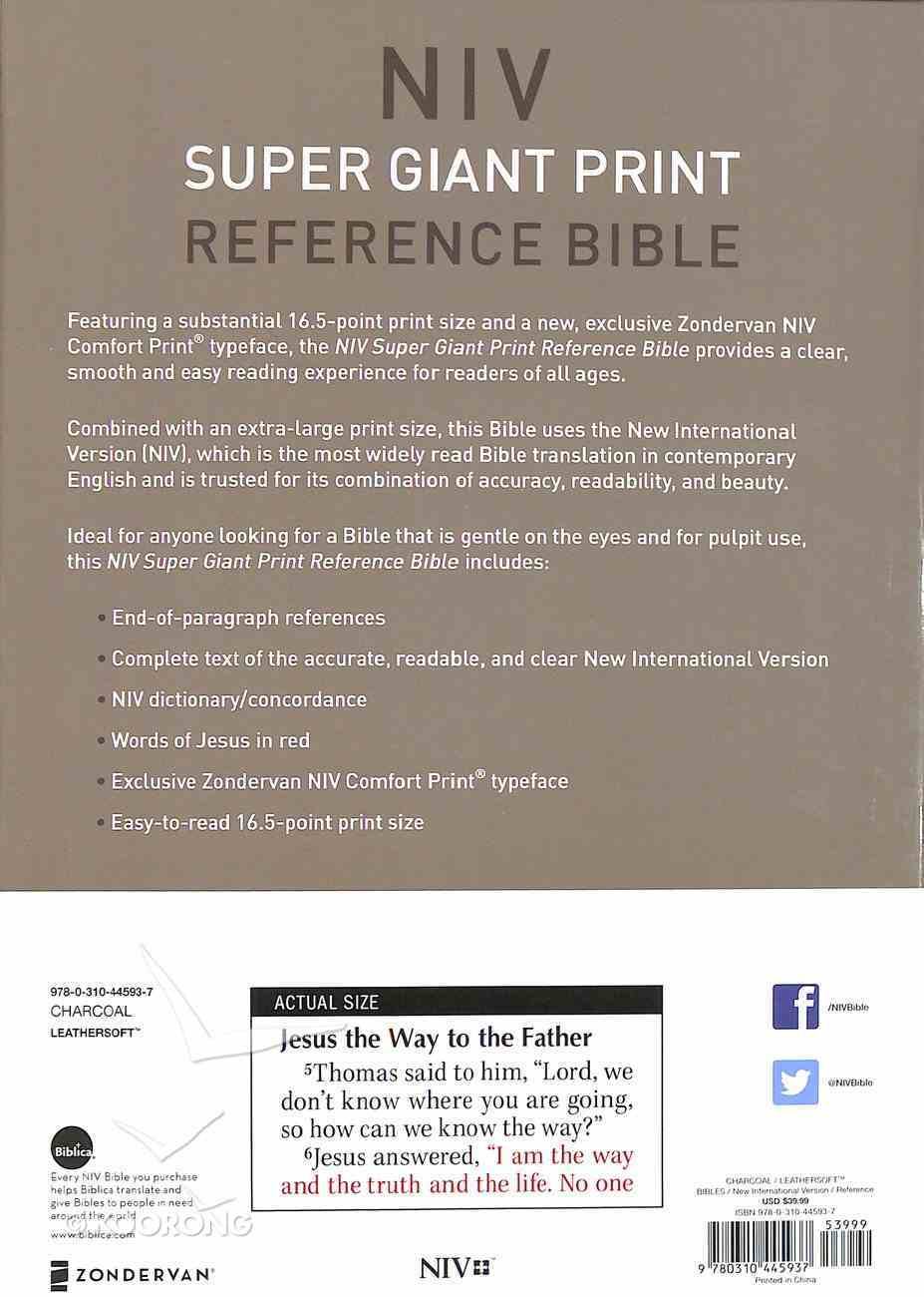 NIV Super Giant Print Reference Bible Gray (Red Letter Edition) Premium Imitation Leather