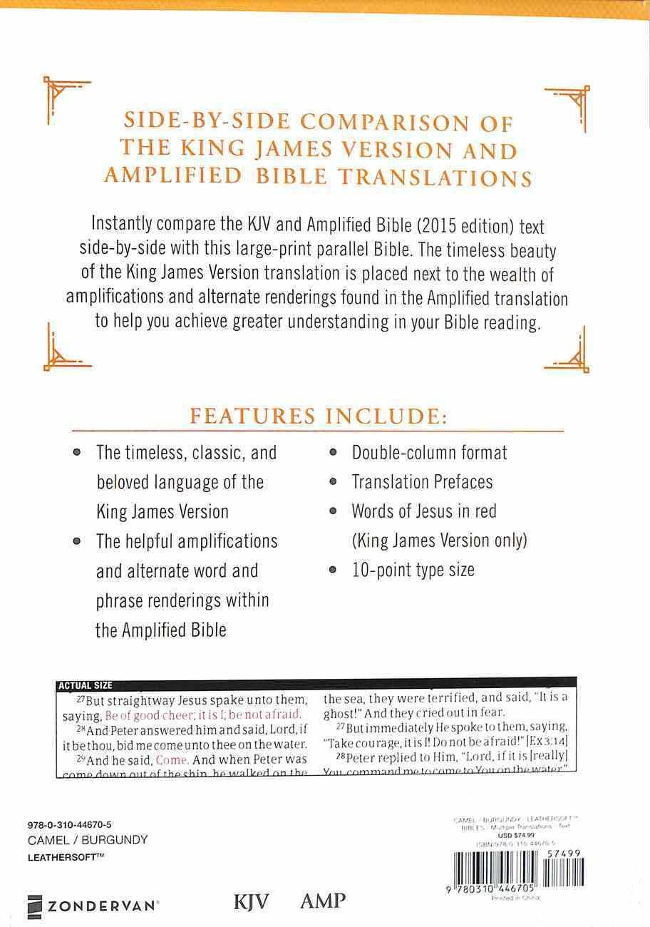 Kjv/Amp Parallel Bible Large Print Tan/Burgundy (Kjv Red Letter, Amp Black Letter) Premium Imitation Leather