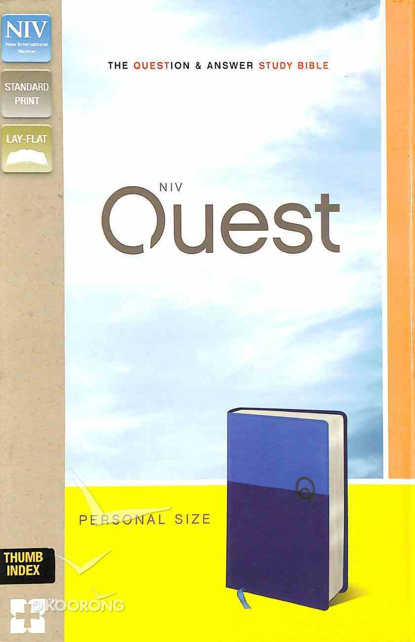 NIV Quest Personal Size Study Bible Blue/Blue Indexed (Black Letter Edition) Premium Imitation Leather