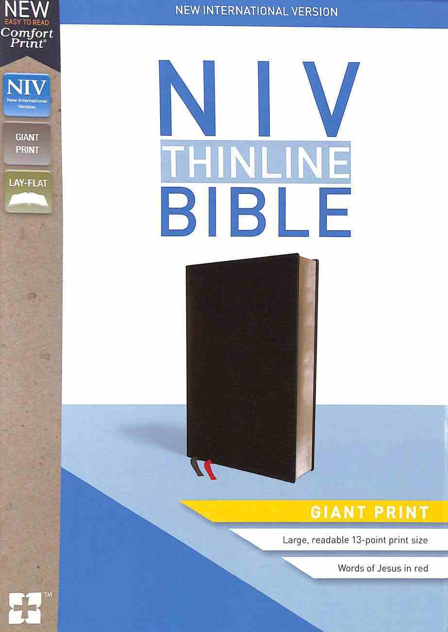 NIV Thinline Bible Giant Print Black (Red Letter Edition) Bonded Leather
