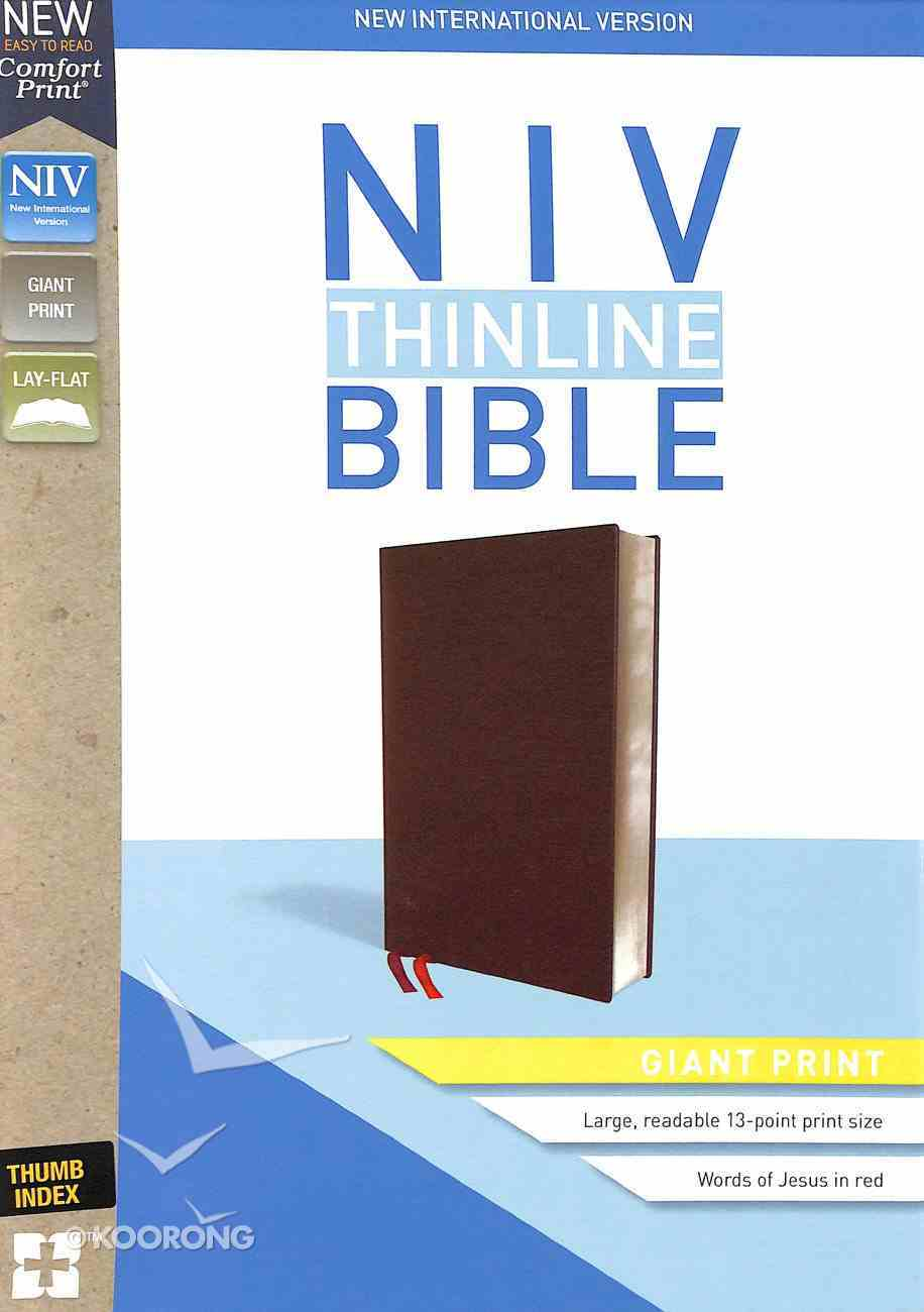NIV Thinline Bible Giant Print Burgundy Indexed (Red Letter Edition) Bonded Leather