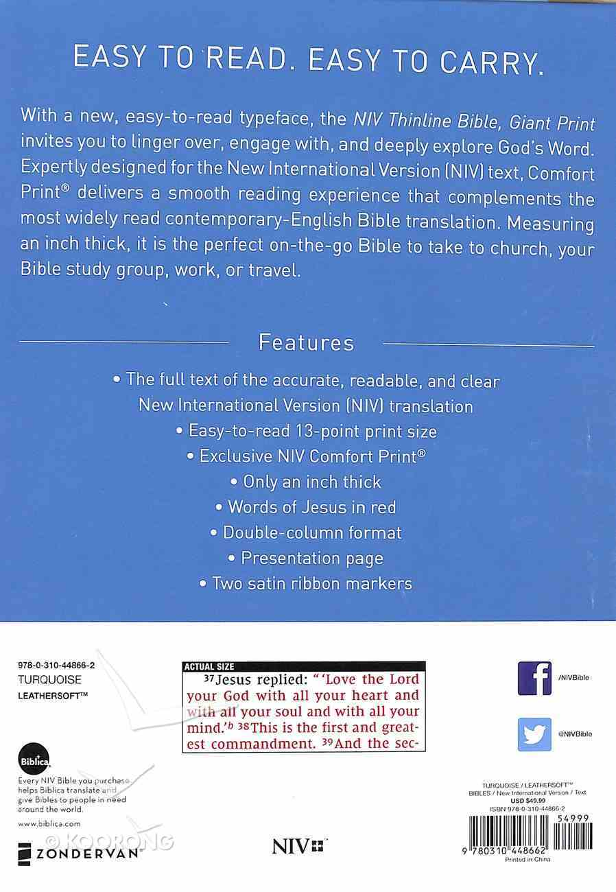 NIV Thinline Bible Giant Print Blue (Red Letter Edition) Premium Imitation Leather