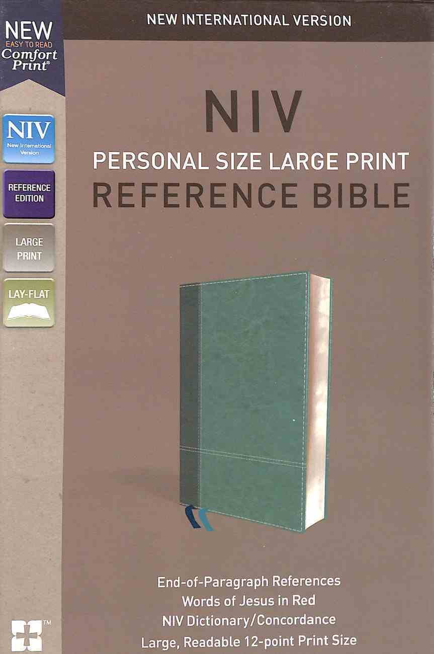 NIV Personal Size Reference Bible Large Print Blue (Red Letter Edition) Premium Imitation Leather
