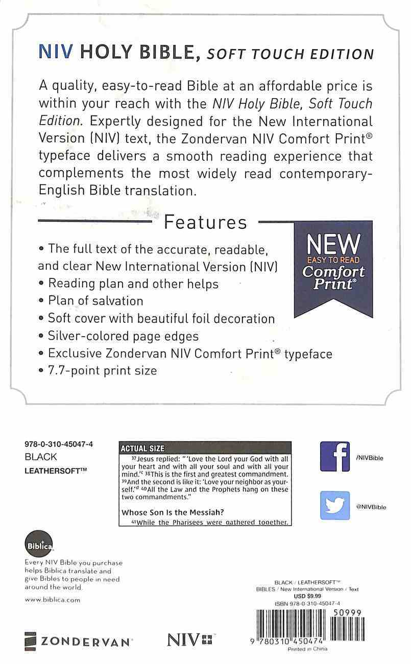 NIV Holy Bible Soft Touch Edition Black (Black Letter Edition) Premium Imitation Leather
