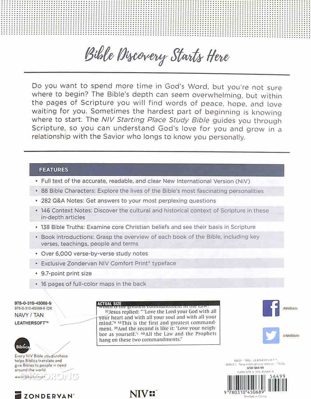 NIV Starting Place Study Bible Blue/Tan Premium Imitation Leather