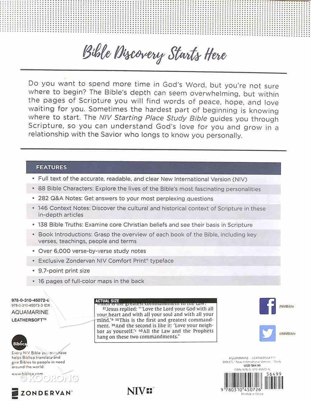 NIV Starting Place Study Bible Blue Premium Imitation Leather