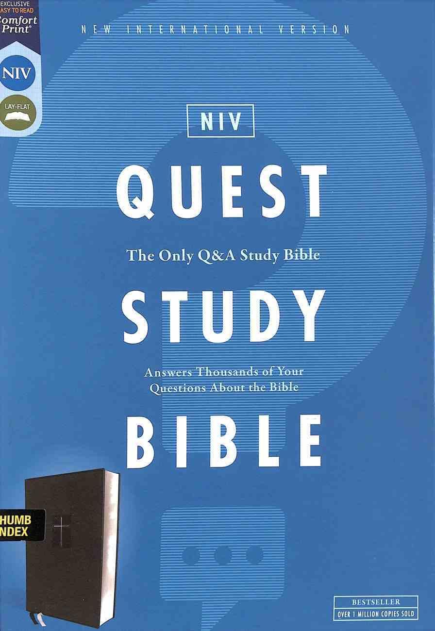 NIV Quest Study Bible Black Indexed Premium Imitation Leather