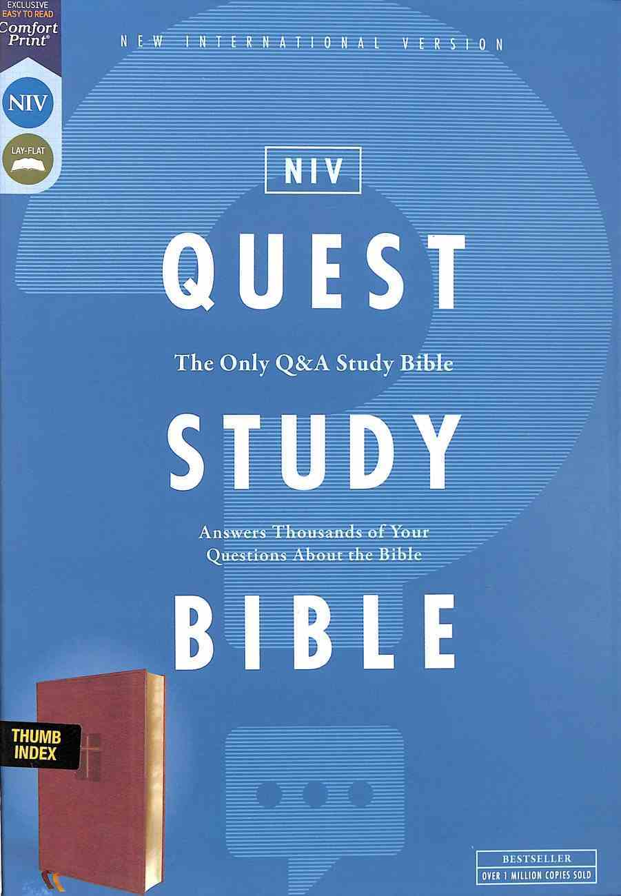 NIV Quest Study Bible Brown Indexed Premium Imitation Leather