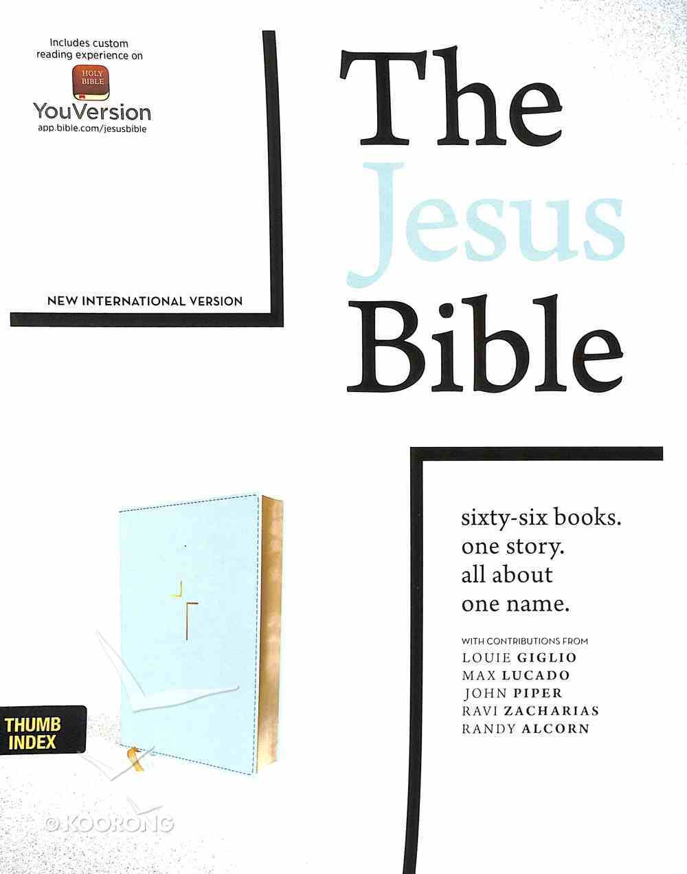 NIV Jesus Bible Blue Indexed Comfort Print Premium Imitation Leather