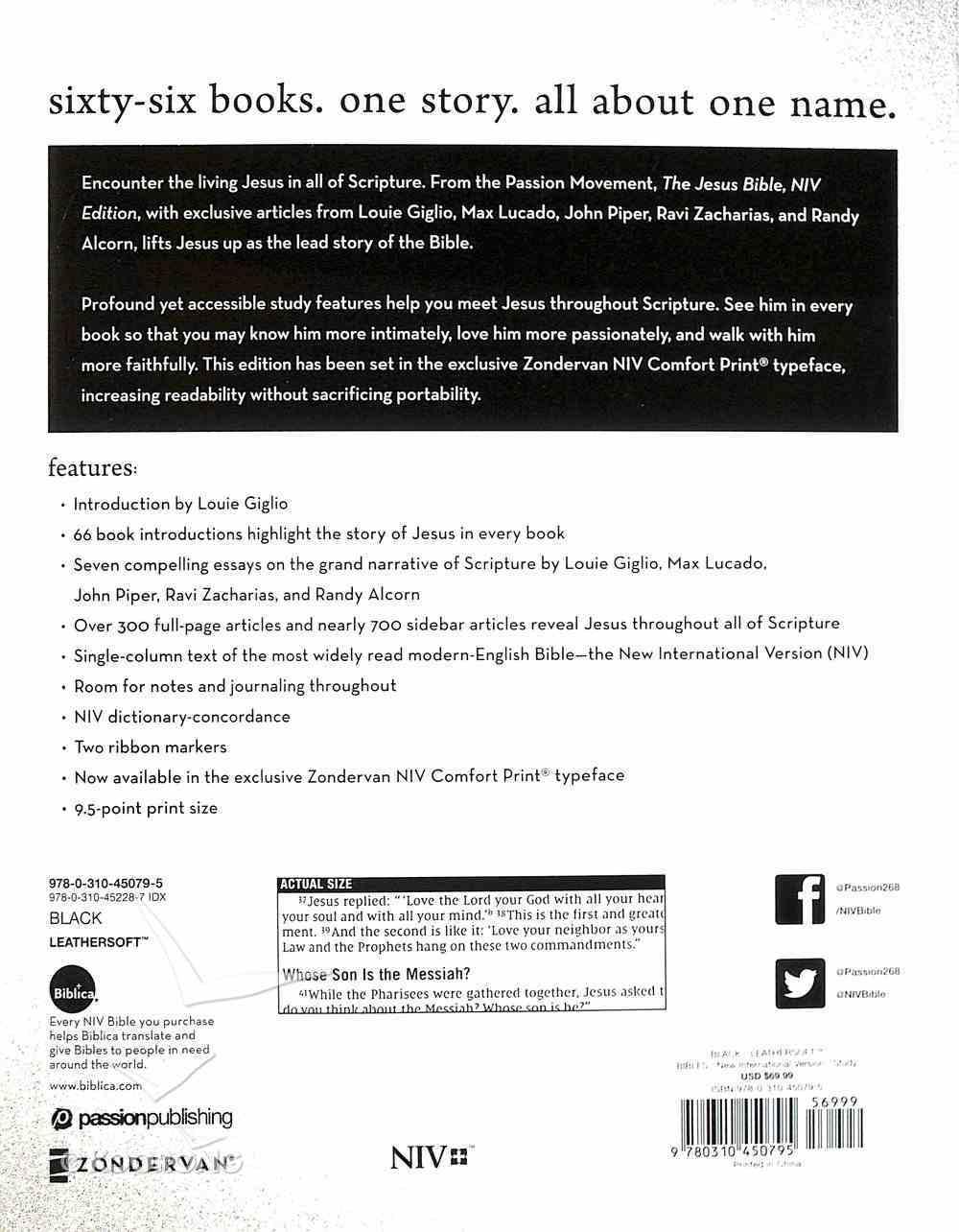 NIV Jesus Bible Black Indexed Comfort Print Premium Imitation Leather