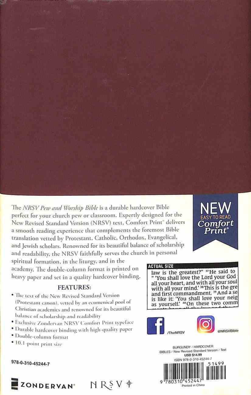NRSV Pew and Worship Bible Burgundy Hardback