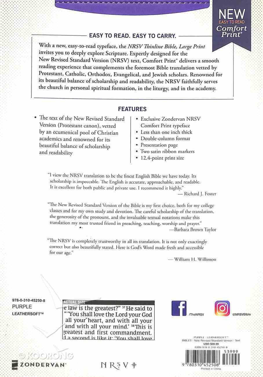 NRSV Thinline Bible Large Print Purple Premium Imitation Leather