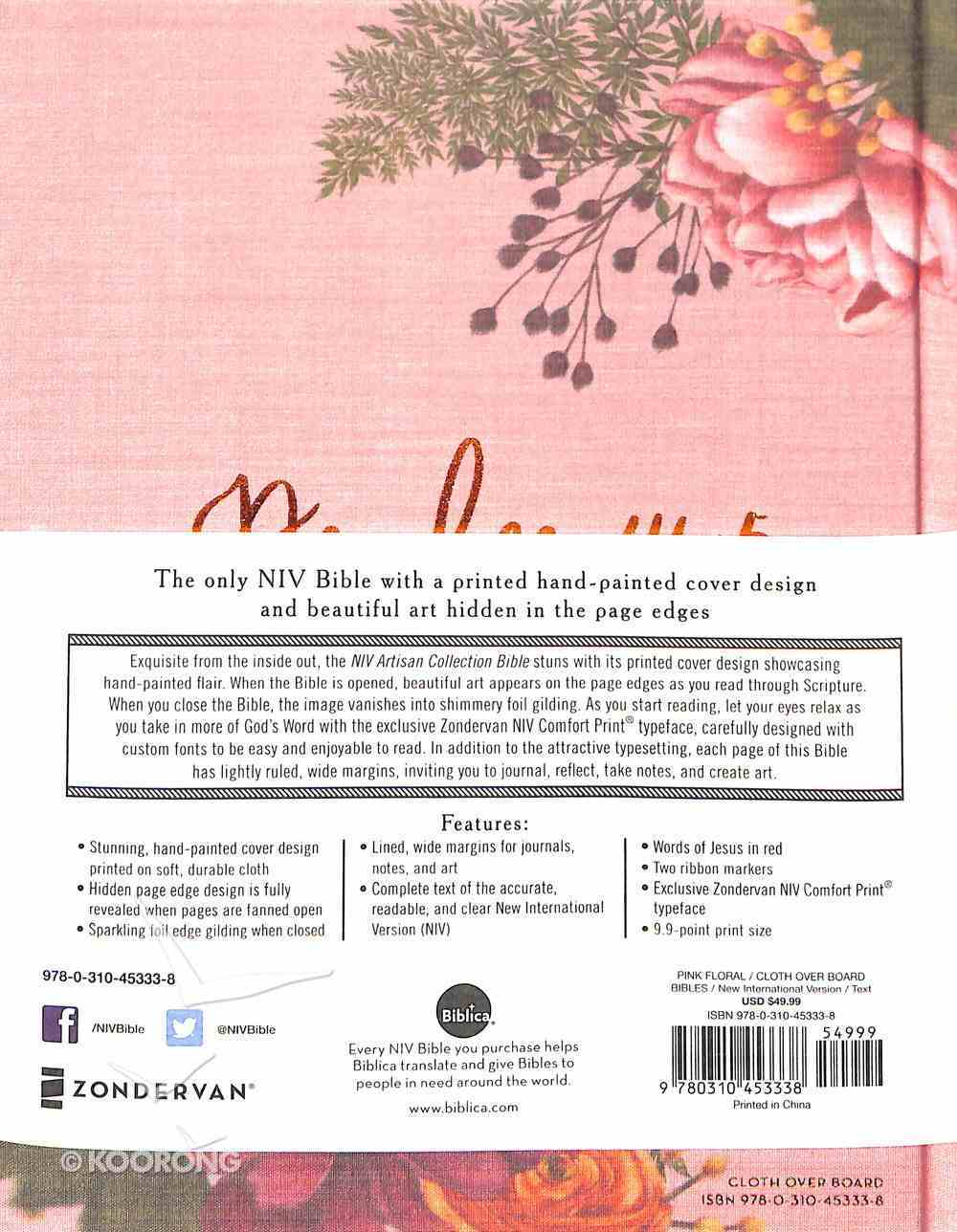 NIV Artisan Collection Bible Pink Floral (Red Letter Edition) Hardback