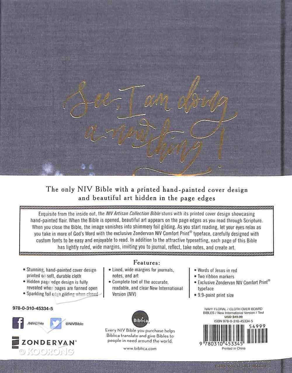 NIV Artisan Collection Bible Navy Floral (Red Letter Edition) Hardback