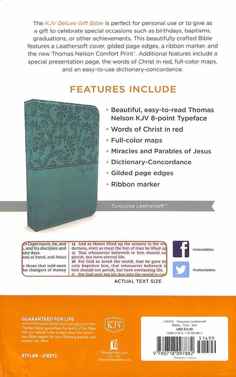 KJV Deluxe Gift Bible Turquoise (Red Letter Edition) Premium Imitation Leather
