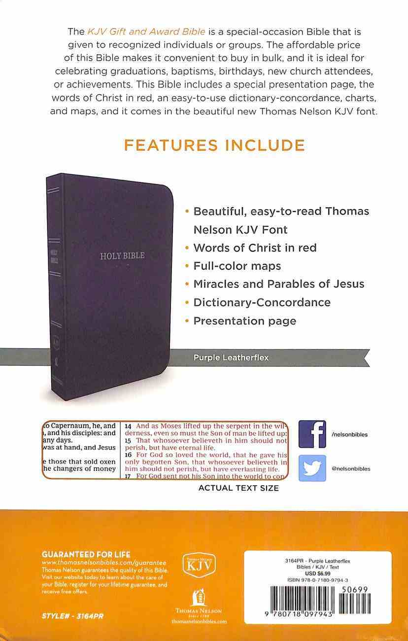 KJV Gift and Award Bible Purple (Red Letter Edition) Imitation Leather