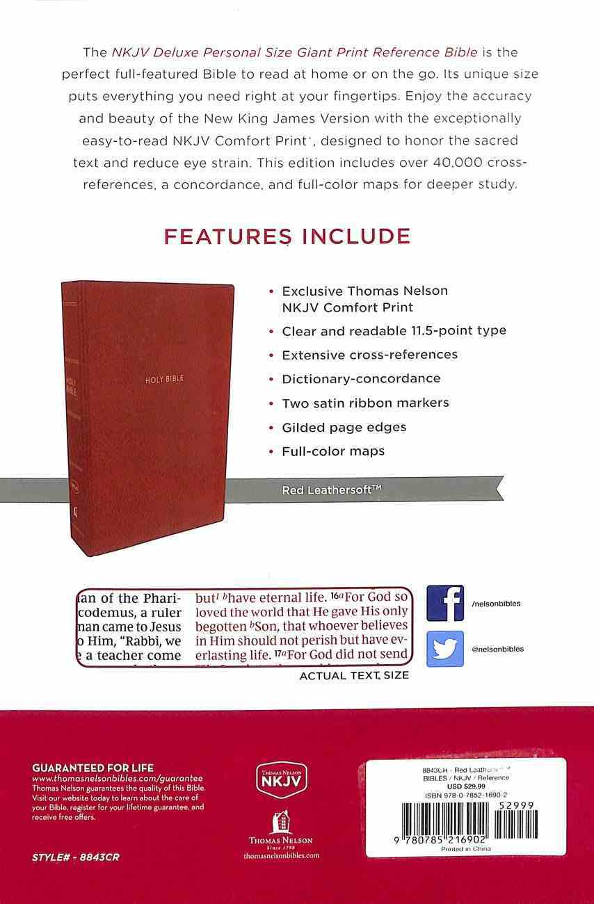 NKJV Deluxe Reference Bible Personal Size Giant Print Red Indexed (Red Letter Edition) Premium Imitation Leather