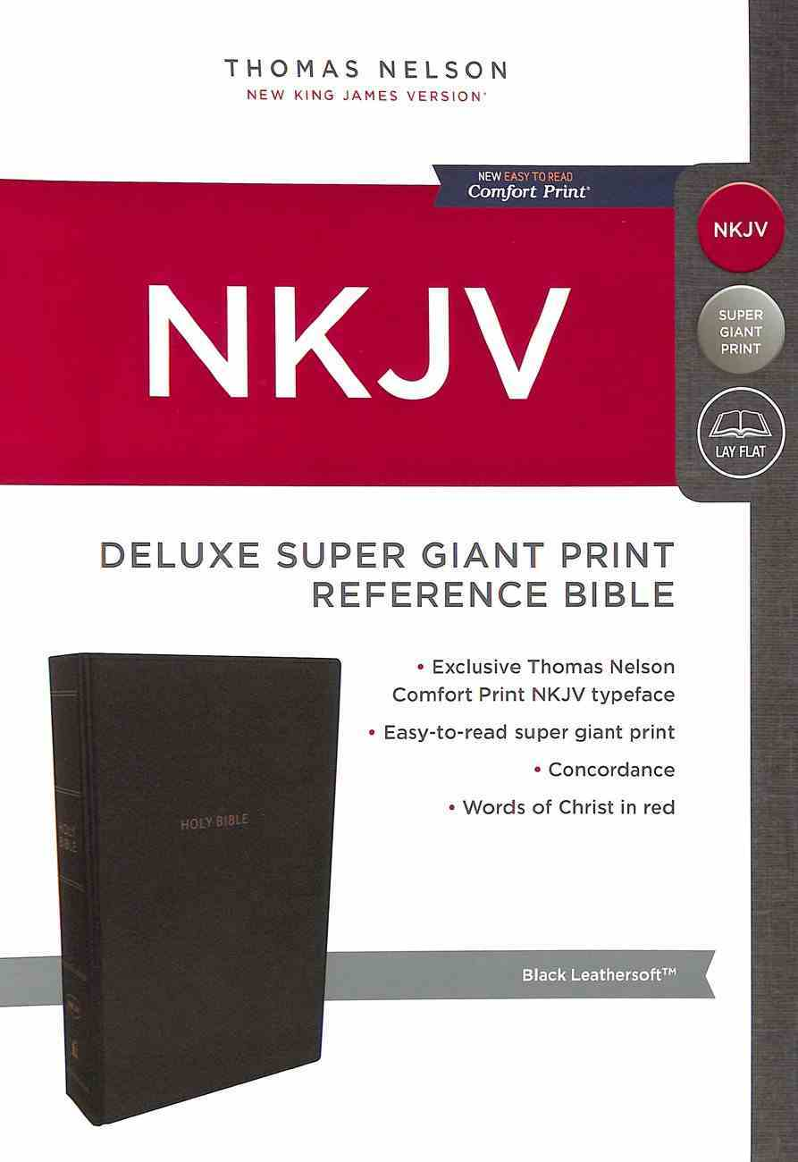 NKJV Deluxe Reference Bible Super Giant Print Black (Red Letter Edition) Premium Imitation Leather