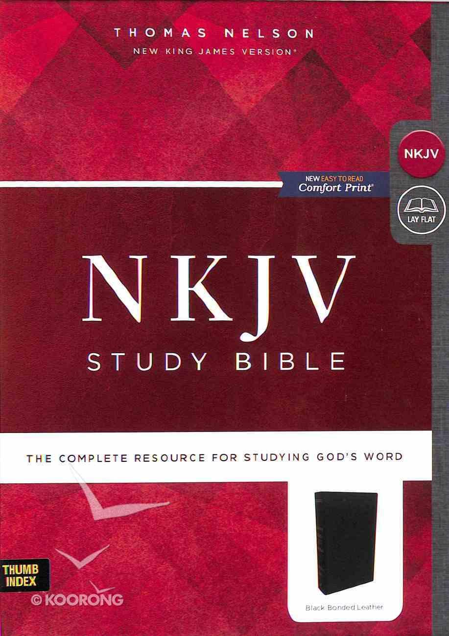 NKJV Study Bible Black Indexed (Black Letter Edition) Bonded Leather