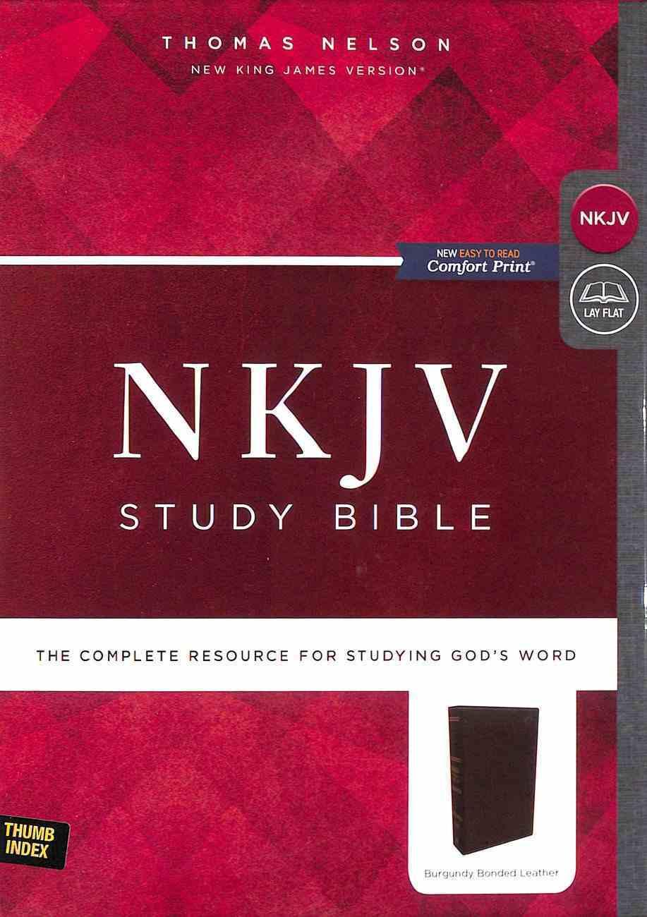 NKJV Study Bible Burgundy Indexed (Black Letter Edition) Bonded Leather