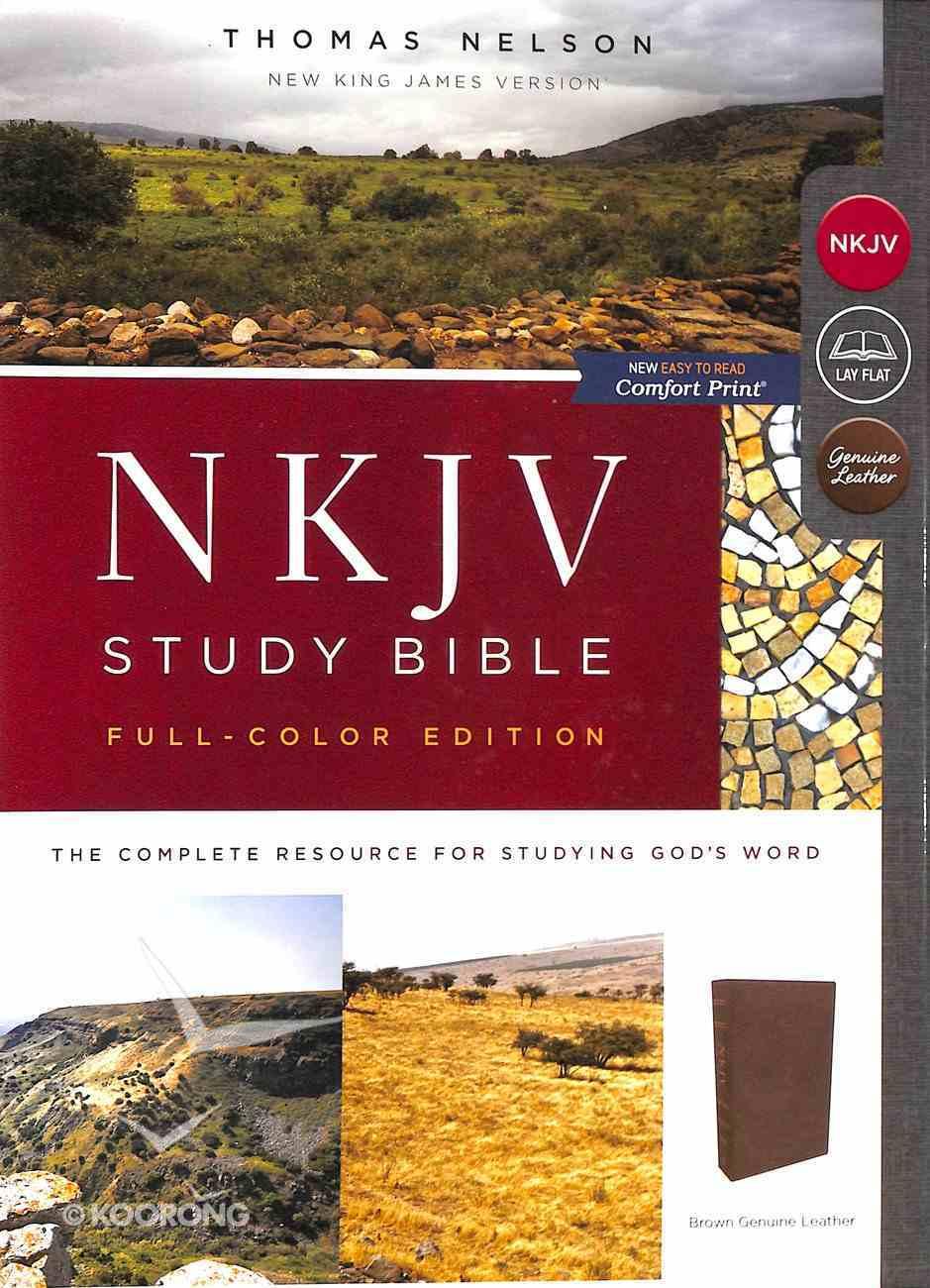 NKJV Study Bible Brown Full-Color (Black Letter Edition) Genuine Leather