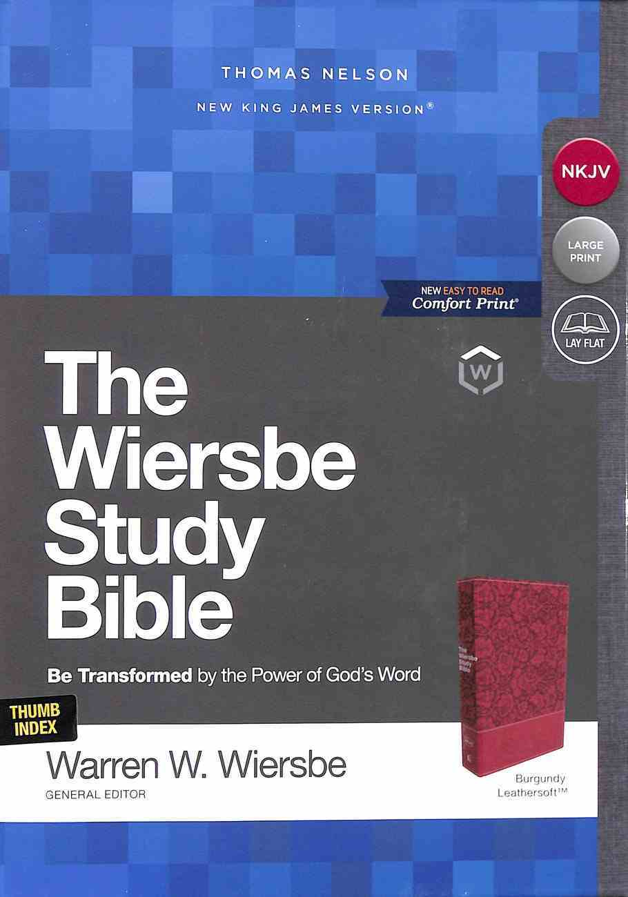 NKJV Wiersbe Study Bible Burgundy Indexed Premium Imitation Leather